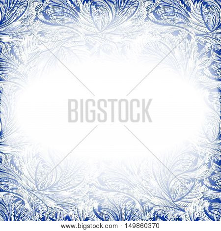 Frame frozen glass decor. Winter holiday blue frost background. Blue, cyan and white design banner with snow hoar frost ice for winter holiday template. Vector illustration stock vector.