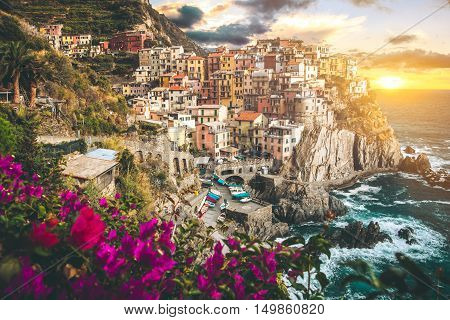 Beautiful village of Manarola in Italy at sunset.