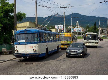 Alushta, Russia - June 14, 2016: Public transport in the city of Gorky Street Alushta