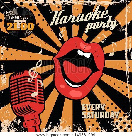 Karaoke party. Human lips with old style microphone on grunge background. Design element for flyer poster. Vector illustration.