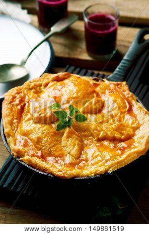 Rustic Beef Pot Pie . selective focus