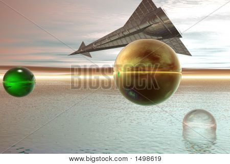 Space Ship On Alien Sky - Digital Illustration