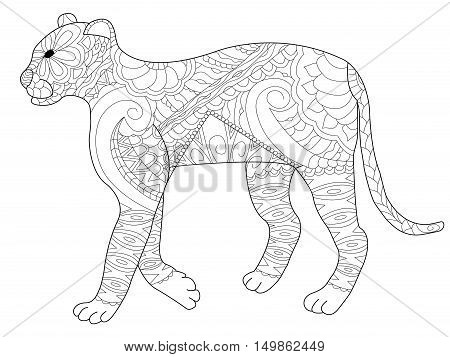 Panther coloring book for adults vector illustration. Cat anti-stress coloring for adult. Feline zentangle style. Lion black and white lines. Lace pattern