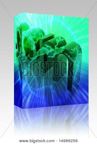 Software package box Dot com website internet web url Europe illustration
