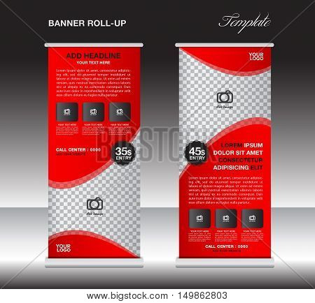 Red roll up banner template, stand template, stand design, banner design, pull up, advertisement, poster flyer design