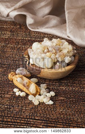Frankincense is an aromatic resin, used for religious rites, incense and perfumes.