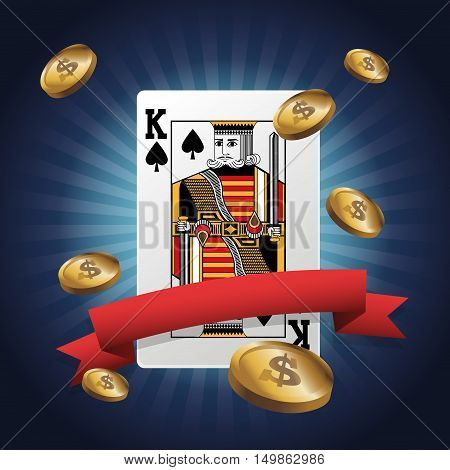 king card of poker and coins icon. Casino and las vegas theme. Colorful design. Vector illustration