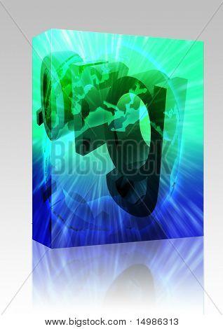 Software package box Dot org internet web url Europe worldwide illustration