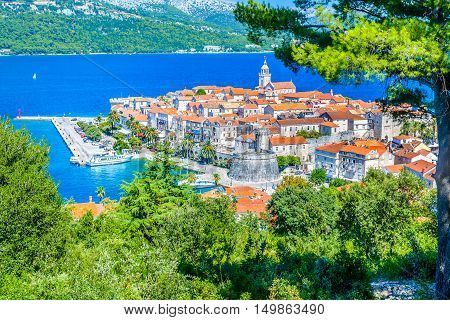 Aerial view on picturesque old town Korcula, Island Korcula, Croatia Europe.