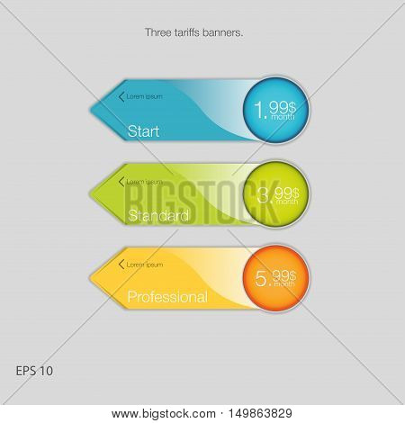 Triple banner for hosting. Three tariffs banners. Web pricing table. Vector design for web app. Arrow style.