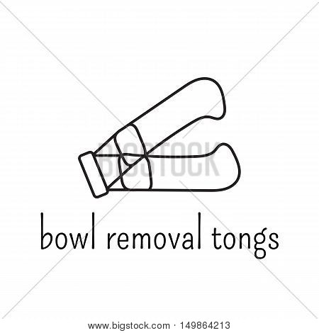Hand drawn thin line icon, vector logo template illustration. Bowl removal tongs for pressure cooker. Isolated symbol. Black on white pictogram. Simple mono linear modern design.