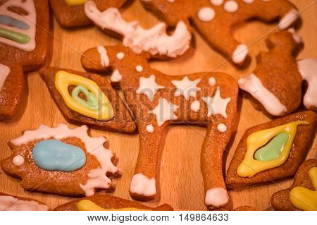 Gingerbread colorful decorated cookies - Christmas moose, squirrel, hedgehog