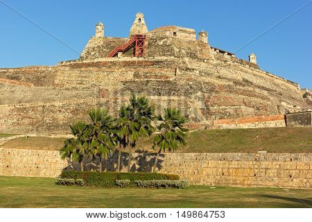 San Felipe de Barajas fortress in Cartagena Colombia. Castle is on a hill overlooking the Cartagena de Indias city in Colombia.