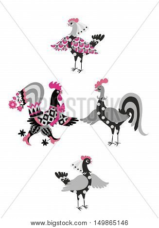 Set of cute cartoon cockerels and hens. Vector illustration. Year of the rooster. 2017. Collection of dancing hen and rooster stickers.