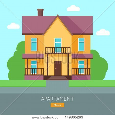 Apartment vector web banner in flat style. Buying a new place for living. Cottage house with bushes and grass illustration