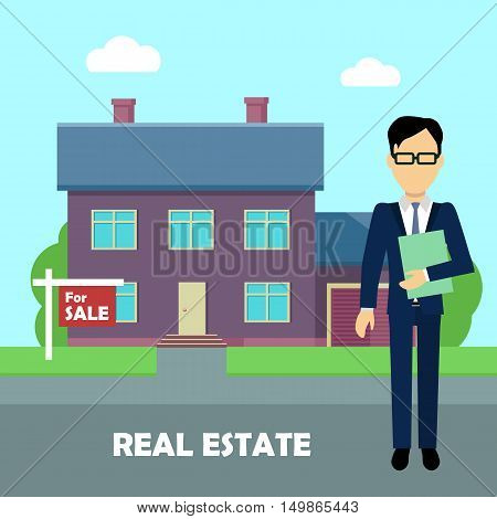 Real estate conceptual vector in flat design. Realtor with documents standing near house on sale.