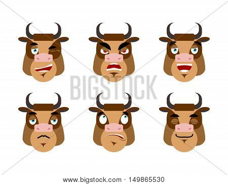 Emotions Cow. Set Expressions Avatar Bull. Good And Evil. Discouraged And Cheerful. Face Farm Animal