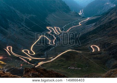 The Transfagarasan highway in Romania at night time