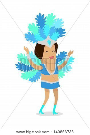 Smiling woman in blue carnaval costume with plumage. Carnival party. Carnival dancer. Woman samba dancer. Rio carnival. Carnival girl. Isolated vector illustration in flat design.