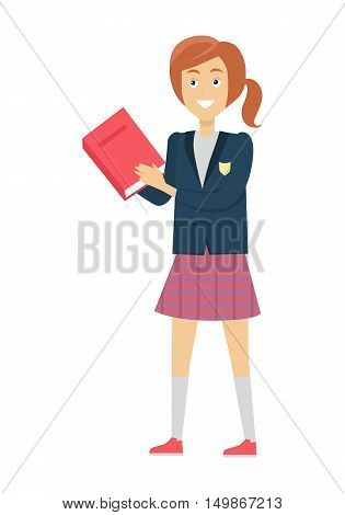 Schoolgirl in blue jacket and purple skirt with book. Smiling girl in school uniform. Vector illustration on white background