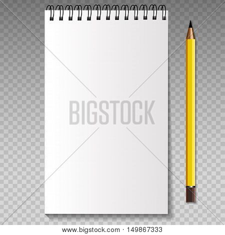 Realistic template notebook and pencil. Blank cover design. School business diary. Vector illustration.