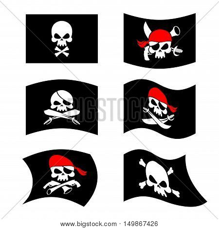 Jolly Roger. Pirate Flag. Skull And Crossbones. Skeleton Head In Sling. Swords And Guns. Developing