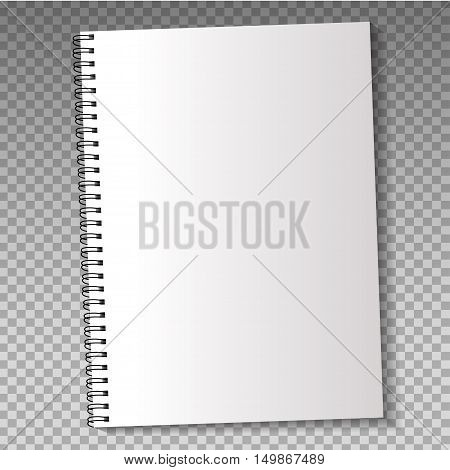 Realistic template notebook. Blank cover design. School business diary. Vector illustration.