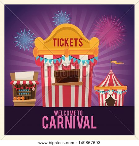 striped ticket tent and stands icon. Carnival festival fair circus and celebration theme. Colorful design. Striped background. Vector illustration