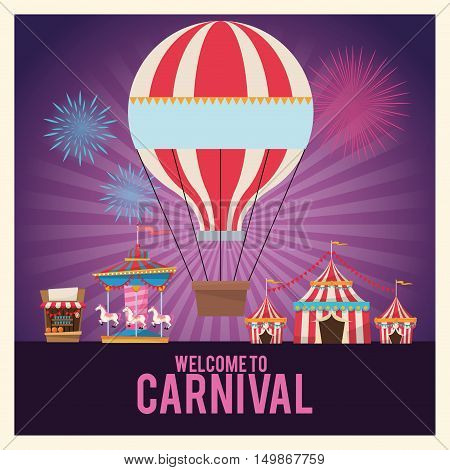 Hot air balloon carousel tents and stand. Carnival festival fair circus and celebration theme. Colorful design. Striped background. Vector illustration