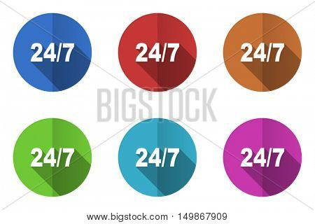 Flat design vector icons. Colorful 24/7 web buttons set.