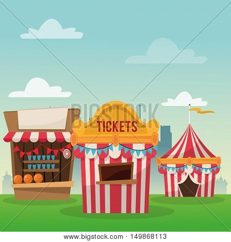 striped ticket tent and stands icon. Carnival festival fair circus and celebration theme. Colorful design. Vector illustration