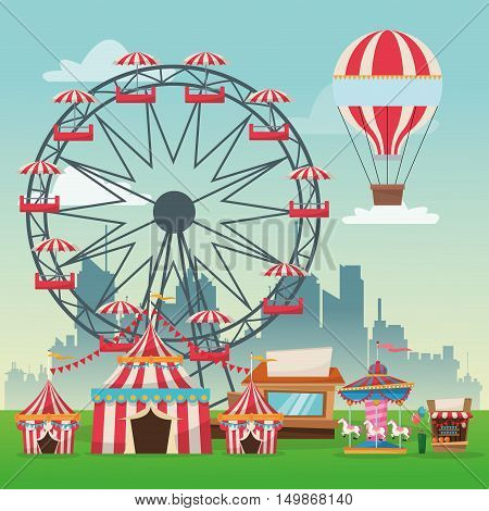 Hot air balloon ferris wheel carousel striped tents and stand. Carnival festival fair circus and celebration theme. Colorful design. Vector illustration