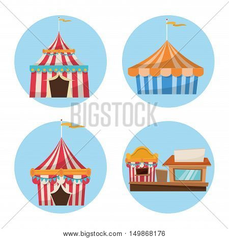 Striped tents with flags and stand. Carnival festival fair circus and celebration theme. Colorful design. Vector illustration