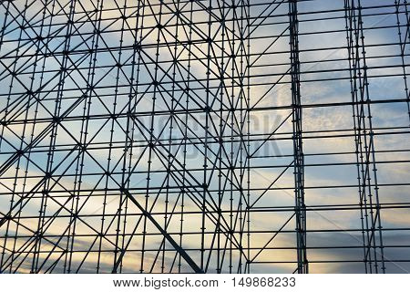 Scaffolding In The Construction Site