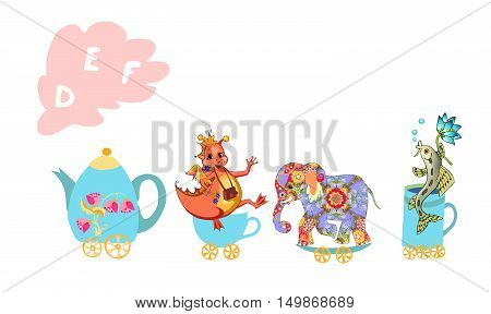 Cute Cartoon English Alphabet With Colorful Image. Teapot And Cups Train. Kids Vector Abc. Letter D,
