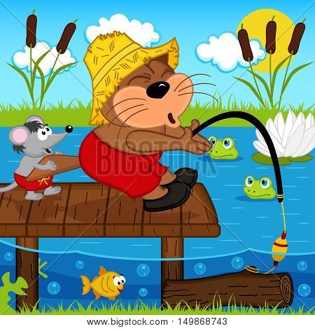 cat mouse fishing - vector illustration, eps