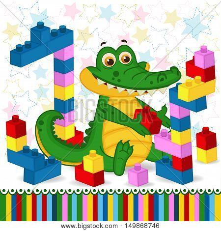 сrocodile construction plastic block - vector illustration, eps
