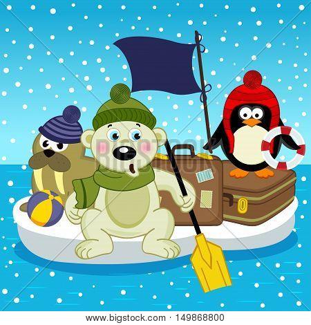 polar bear walrus penguin travel on floe - vector illustration, eps