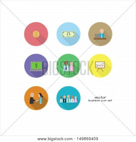 Vector set of business thema with people and financial items. Simple retro flat design. Isolated on white background.