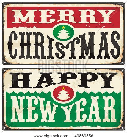 Merry Christmas and Happy New Year. Vintage Christmas sign with old style typography and Christmas tree.