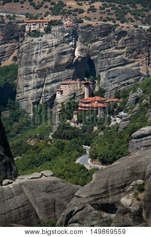 View on the Meteora vally with the Rousanou and Varlaam monasteries.