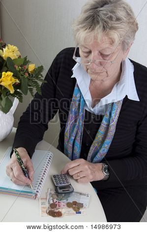Woman is doing her finances