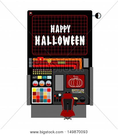 Halloween Factory. Device Manufacturing Scary Pumpkin. Vegetables And Bats Processed Terrible. Manuf