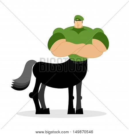 Centaur Soldier In Green Beret. Military Mythical Creature. Half Horse Half Person. Magical Warrior.