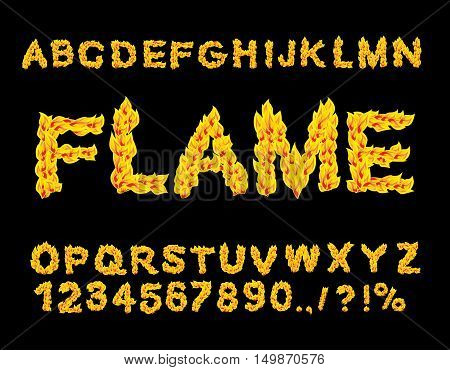 Flame Alphabet. Fire Font. Fiery Letters. Burning Abc. Hot Typography. Blaze Lettring