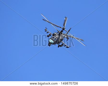 Modern russian attack helicopter Ka-52 with rockets bombs guns