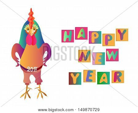 Happy New Year. Greeting card with fairy rooster on white background. Chinese symbol of 2017 year. Vector illustration.