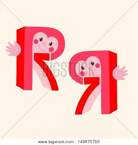 Funny vector logotype. Letter R. Number 7.