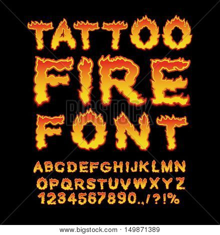 Tattoo Fire font. Flame Alphabet. Fiery letters. Burning ABC. Hot typography. blaze lettring poster