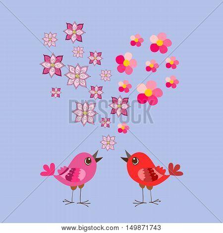 Cute cartoon birds and flowers heart. Valentine's Day. Greeting card. Wedding invitation.